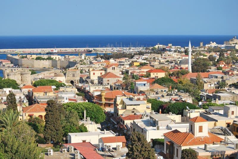 Rhodos. Panorama der alten Stadt stockfoto