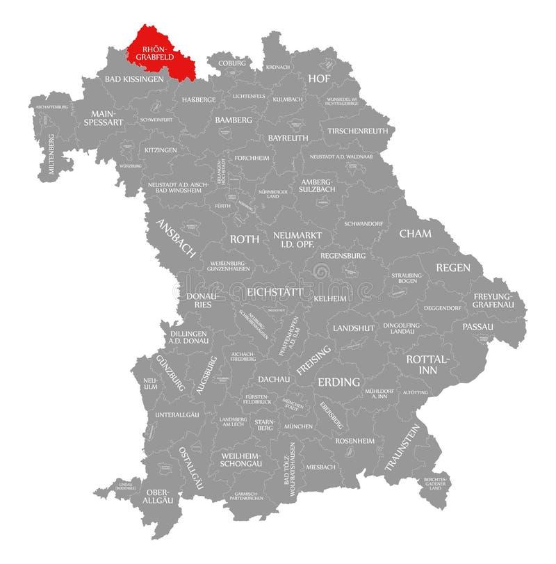 Rhoen-Grabfeld okręgu administracyjnego czerwień podkreślająca w mapie Bavaria Niemcy ilustracji