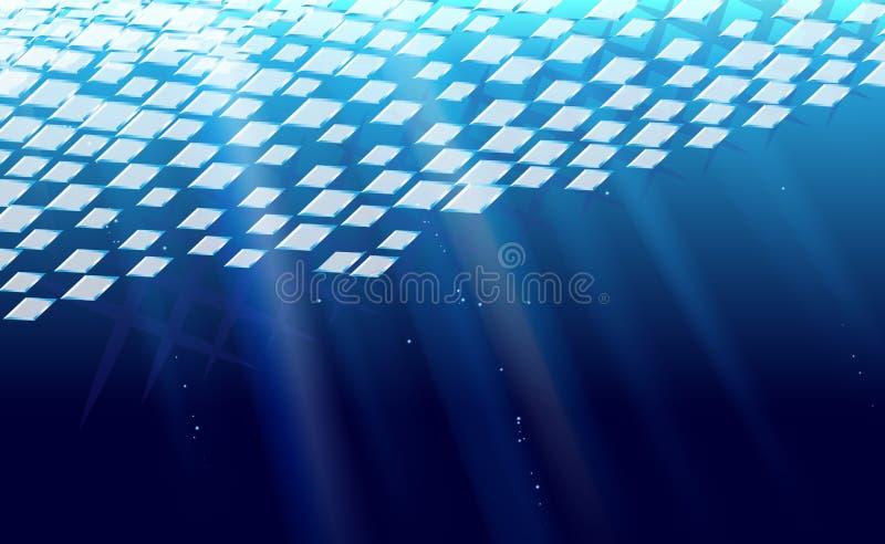 Rhombic abstrato da tração do gelo do fundo perfurado Esmagando o rombo azul da ilustração do vetor da bandeira Contexto geométri