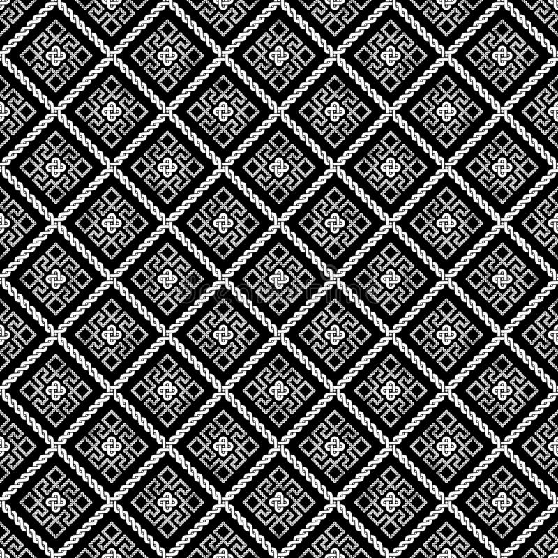Rhombic pattern Ancient Roman ornament. Black background royalty free illustration
