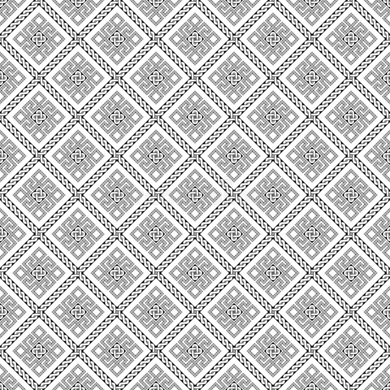 Rhombic pattern Ancient Roman ornament. White background stock illustration