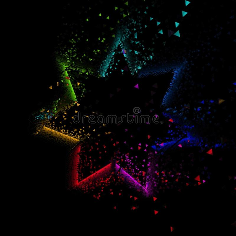 Rhombic radial dispersed rainbow pattern. Rhombic radial dispersed rainbow motion graphic design on black background. Vector wallpaper pattern vector illustration