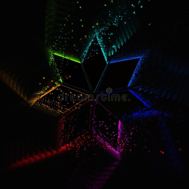 Rhombic radial  rainbow pattern. Rhombic radial rainbow motion graphic design on black background. Vector wallpaper stock illustration
