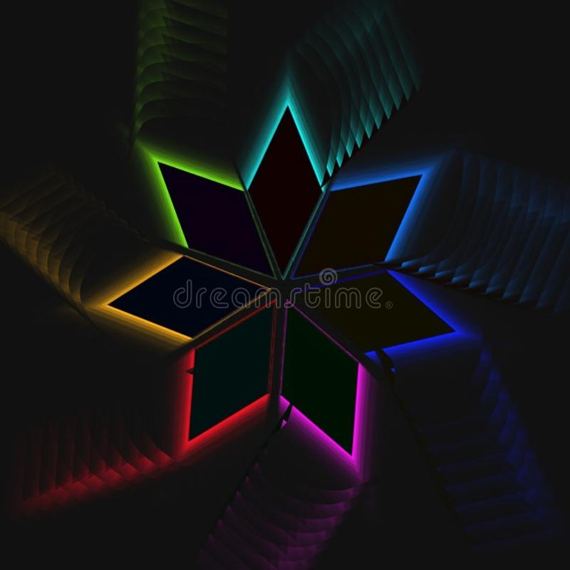 Rhombic radial rainbow. Motion graphic design on black background. Vector wallpaper stock illustration