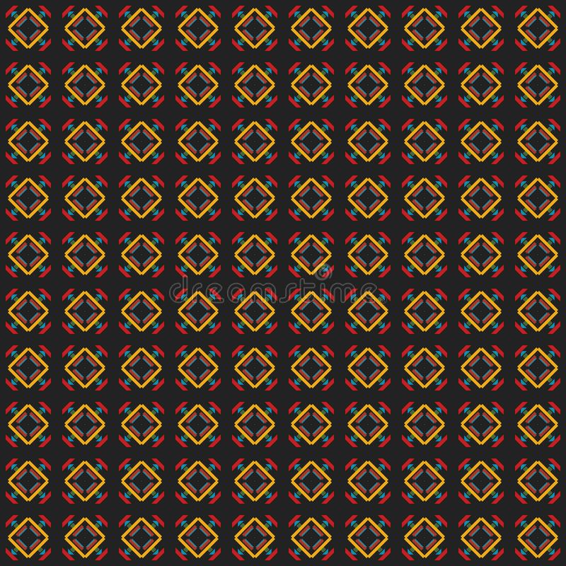 Rhombic seamless pattern. Block repeat background. Geometric pattern in traditional, ethnic style. Moroccan tiles. Rhombic seamless pattern. Block repeat stock illustration