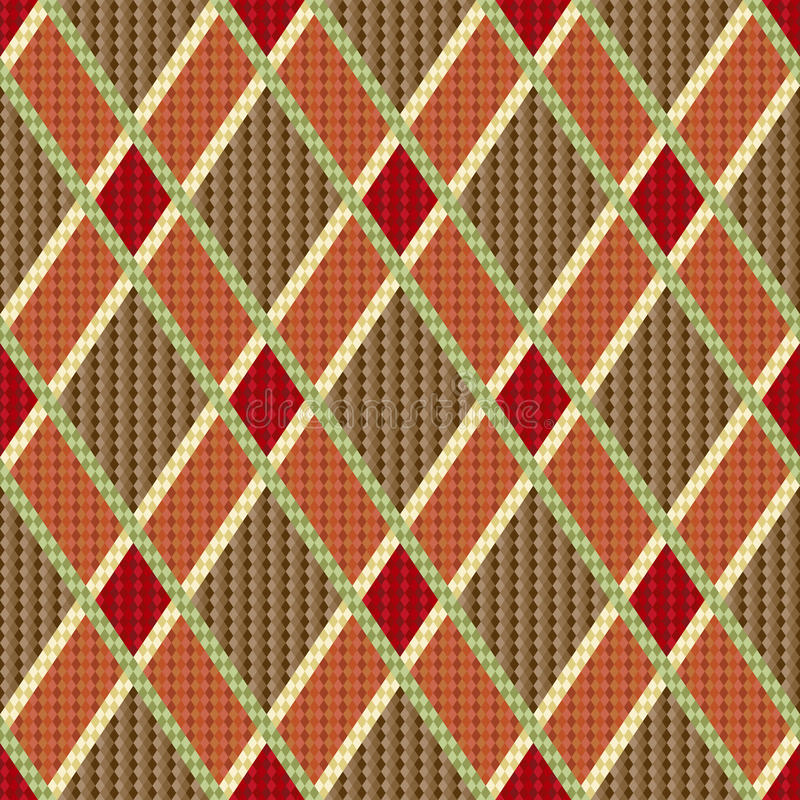 Rhombic tartan red and brown fabric seamless textu. Rhombic seamless red and brown vector pattern as a tartan plaid royalty free illustration