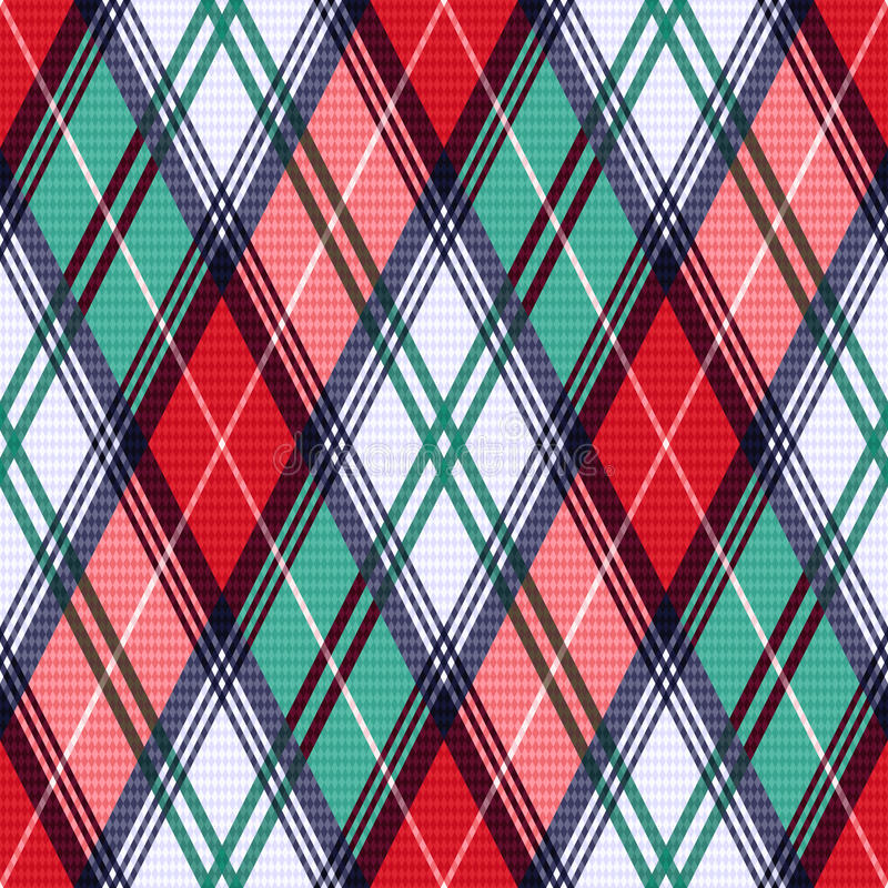 Rhombic tartan seamless texture in red and turquoise hues. Rhombic seamless vector pattern as a tartan plaid mainly in red and turquoise colors stock illustration