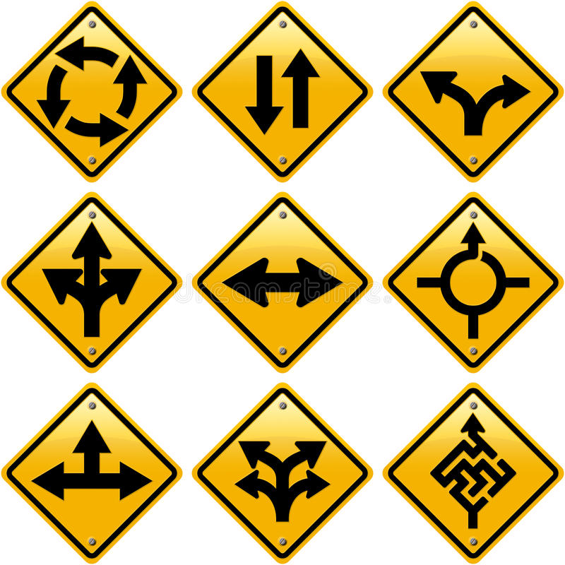 Rhombic yellow road signs with arrows directions. ? isolated on white background stock illustration