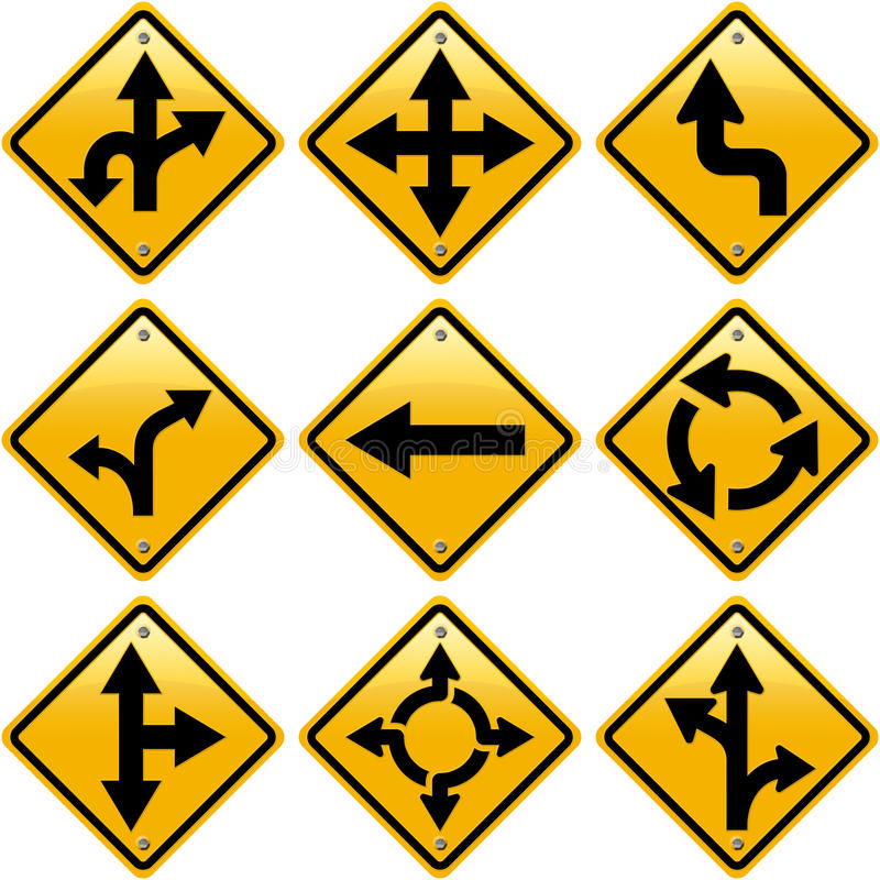 Rhombic yellow road signs with arrows directions. ? isolated on white background royalty free illustration
