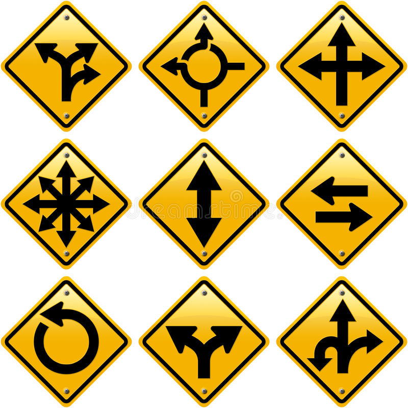 Rhombic yellow road signs with arrows directions. ? isolated on white background vector illustration