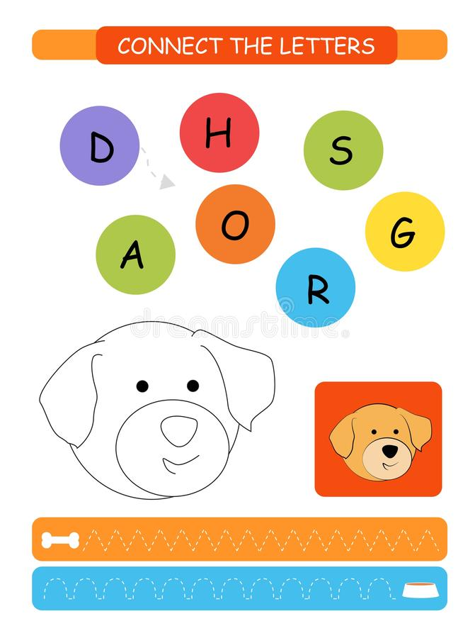 Connect the letters. Printable worksheet for preschool and kindergarten kids. Alphabet learning letters and coloring. Vector illus. Connect the letters royalty free illustration