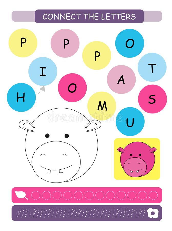 Connect the letters - Hippopotamus. Printable worksheet for preschool and kindergarten kids. Alphabet learning letters and colorin vector illustration