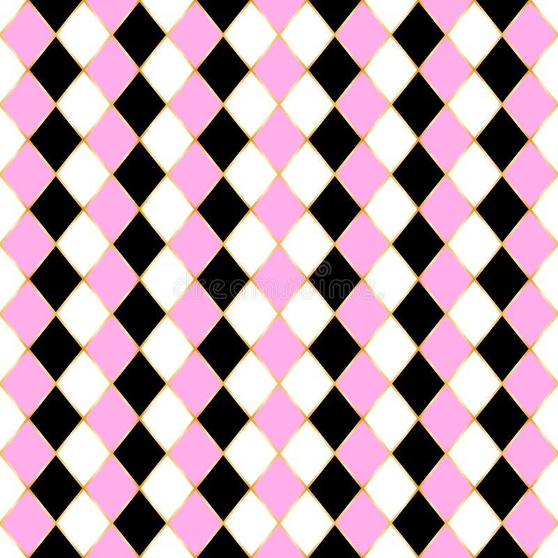 Rhombus bezszwowy wzór z 3 kolorem, złoto rama ilustracja wektor