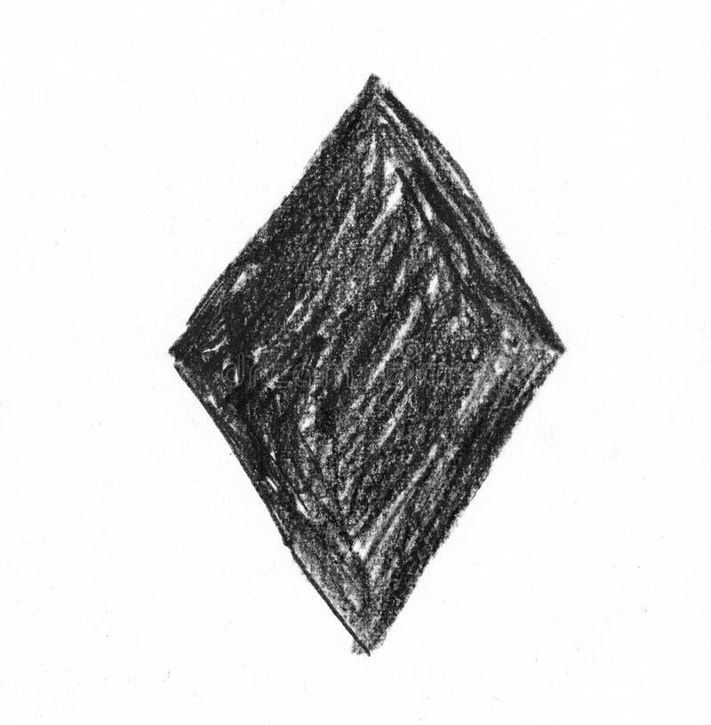 Rhombus con el fondo texturizado lápiz natural ilustración del vector