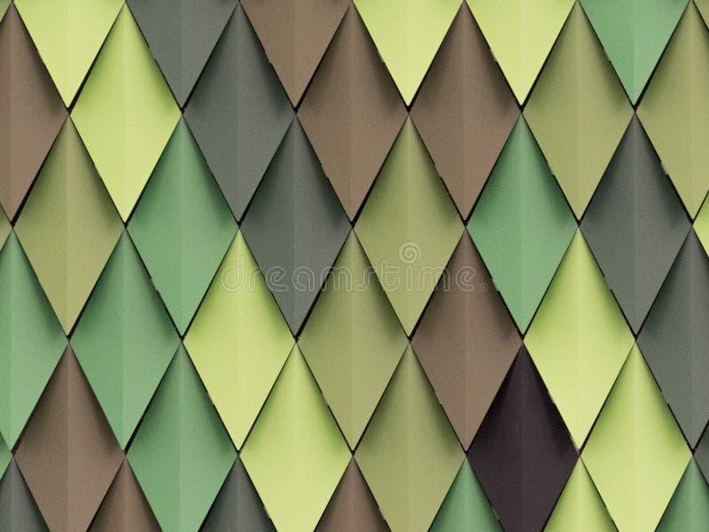 Rhombus en diversas sombras de verde y de marrón en la fachada imágenes de archivo libres de regalías