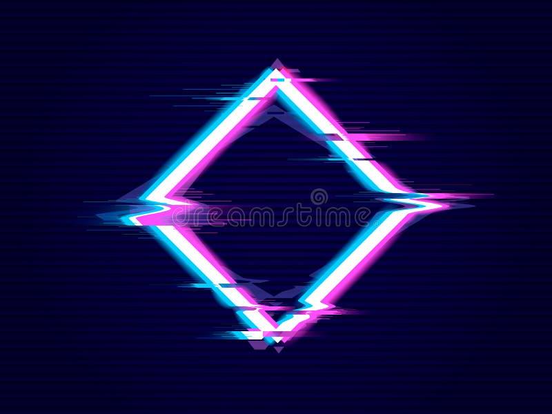 Rhombus  with Glitch effect. Distorted glitch style modern background stock illustration