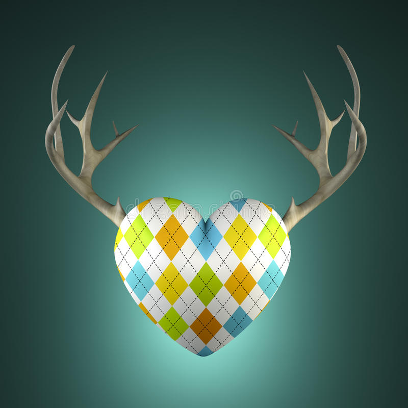 Rhombus heart with antlers. On the turquoise background 3D stock illustration
