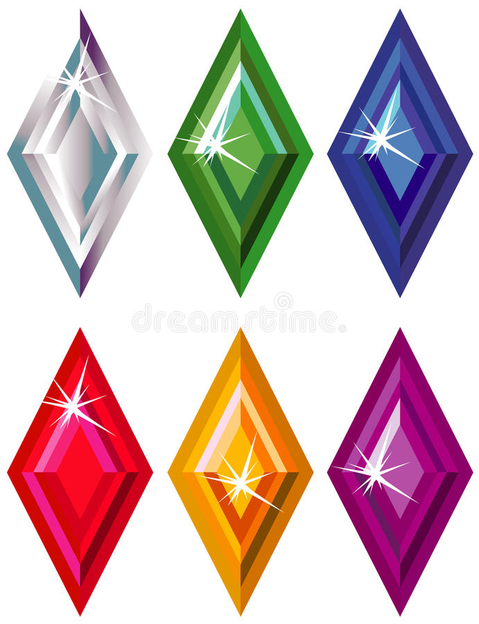 Download Rhombus Or Kite Cut Precious Stones With Sparkle Stock Vector - Image: 11836675