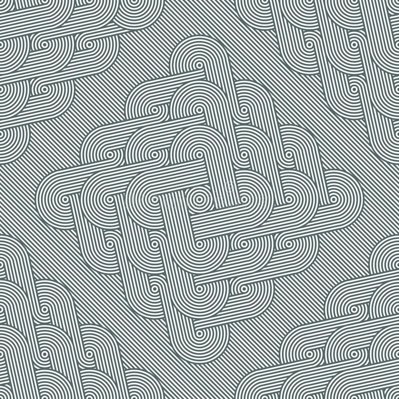 Rhombuses with co-directional rows of concentric circles on diagonal striped background. Seamless geometric pattern. Rhombuses with co-directional rows of royalty free illustration