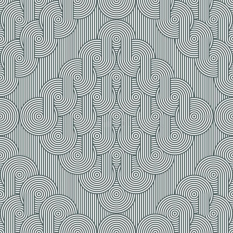 Rhombuses with rows of concentric circles. Seamless geometric pattern stock illustration