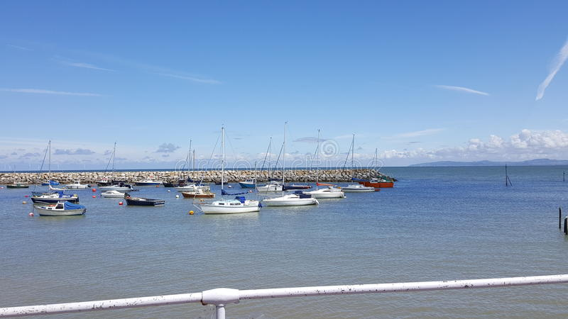 Rhos on sea harbour stock photo