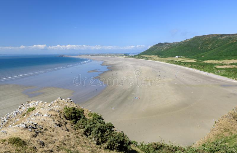 Rhossili Bay, the Gower, Wales, on a sunny summers day. stock images