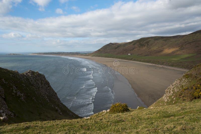 Rhossili strand, Goweren, södra Wales royaltyfria bilder