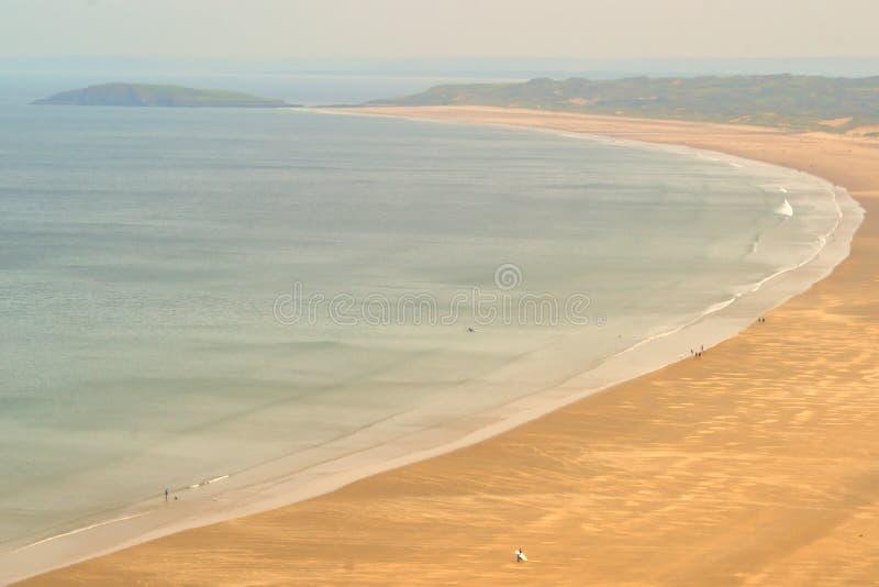 Rhossili strand i Wales arkivfoton