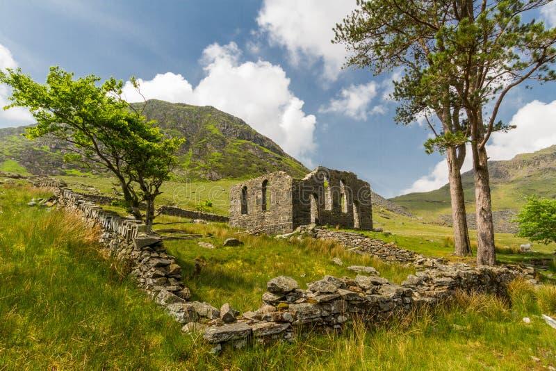 Rhosydd ruined chapel, Cwmorthin. Derelict Rhosydd Chapel, Cwmorthin, Bleneau Ffestiniog, Gwynedd, Wales, United Kingdom. Looking towards derelict Rhosydd Chapel royalty free stock photography