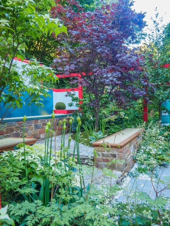 """RHS Chelsea Flower Show 2017 Folhas escondidas do †de Hagakure """" Um jardim terraced com influências japonesas fortes fotografia de stock royalty free"""