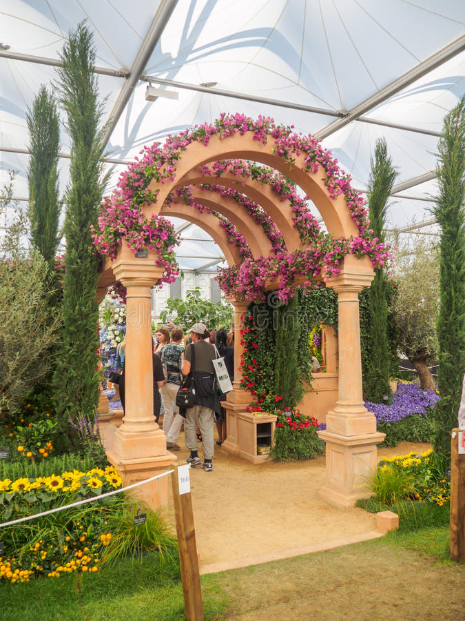 RHS Chelsea Flower Show 2017. The world`s most prestigious flower show displaying the best in garden design. LONDON, UK - MAY 25, 2017: RHS Chelsea Flower Show royalty free stock photo
