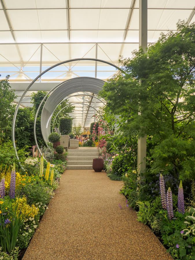 RHS Chelsea Flower Show 2017. The world`s most prestigious flower show displaying the best in garden design. LONDON, UK - MAY 25, 2017: RHS Chelsea Flower Show royalty free stock image