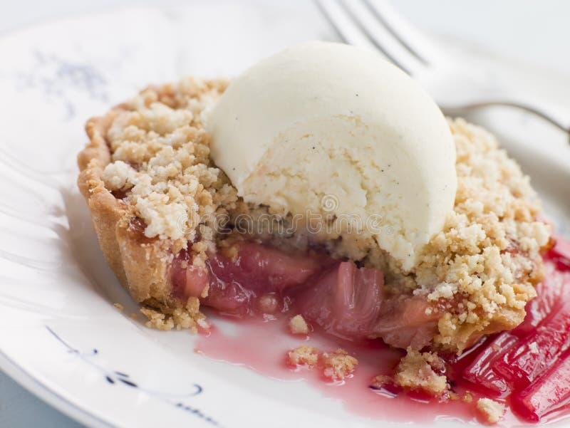 Rhubarb Crumble Tart with Vanilla Ice Cream royalty free stock photo