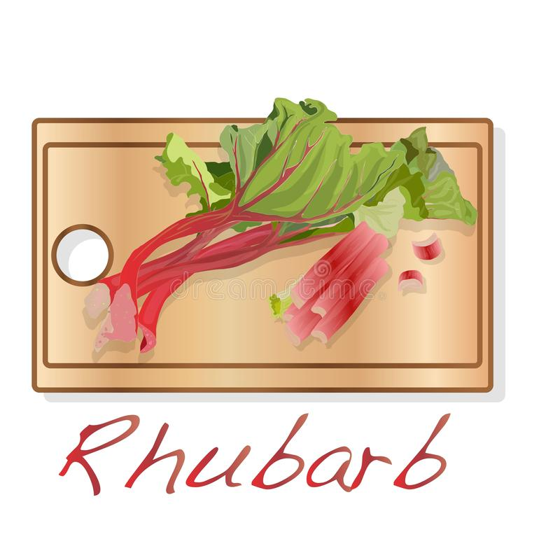 Rhubarbe fra?che Leavs de rhubarbe sur le bureau en bois d'isolement Illustration de vecteur illustration stock