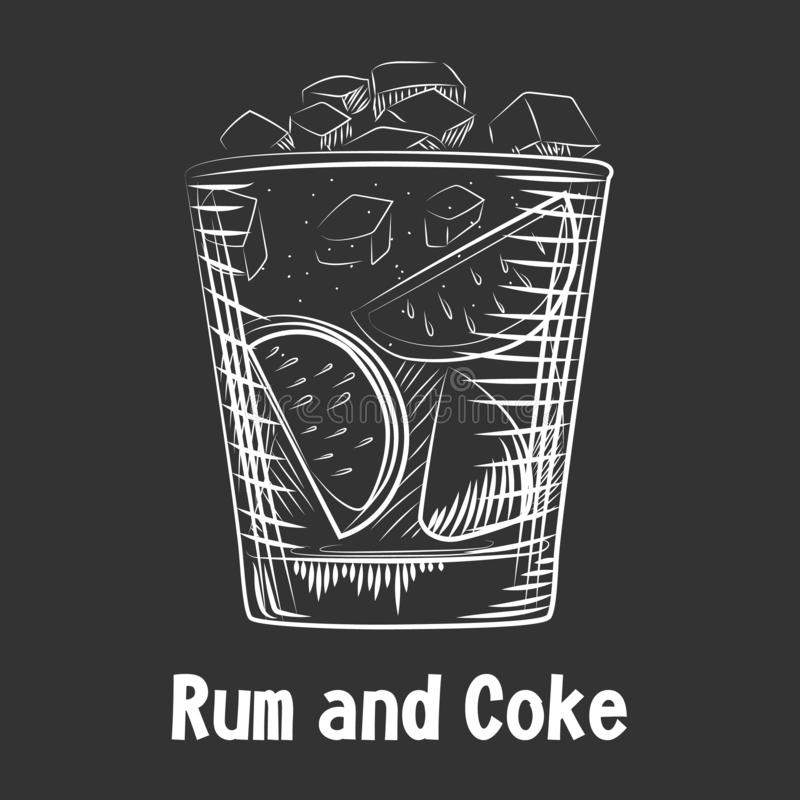 Rhum et coke tirés par la main de cocktail de croquis Fond de rhum de boissons d'alcool illustration stock