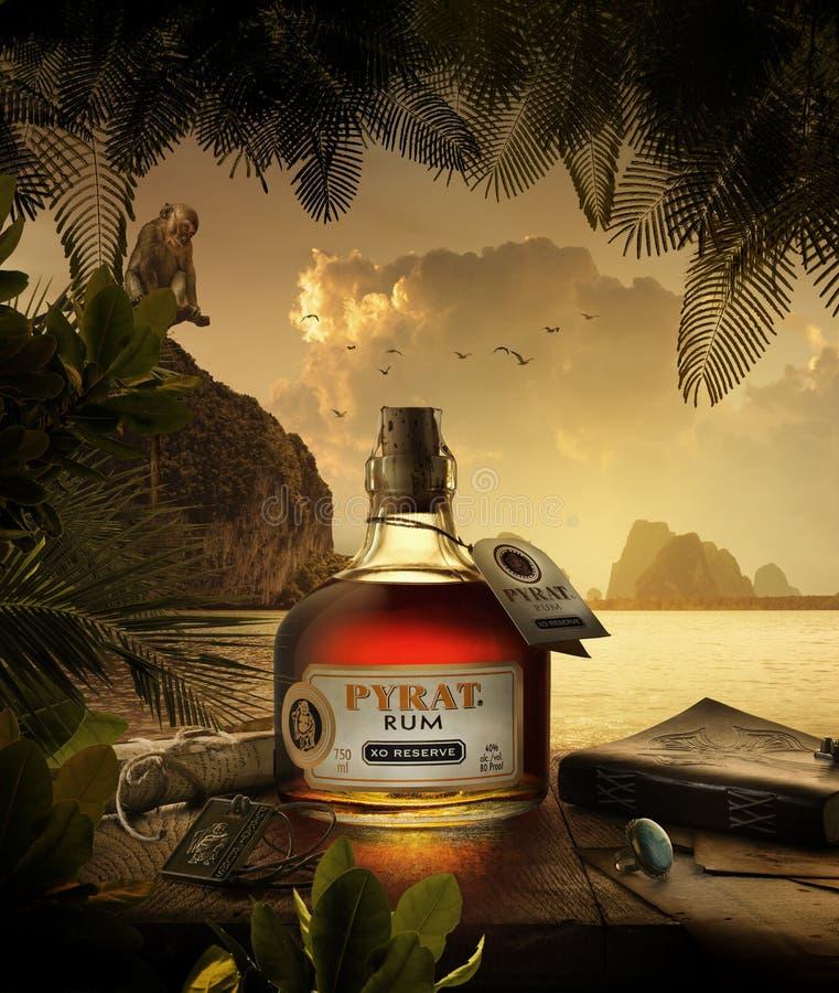 Rhum m?lang? des Cara?bes ambre tr?s sp?cial d'Anguilla Rums Ltd dans les Antilles photos libres de droits