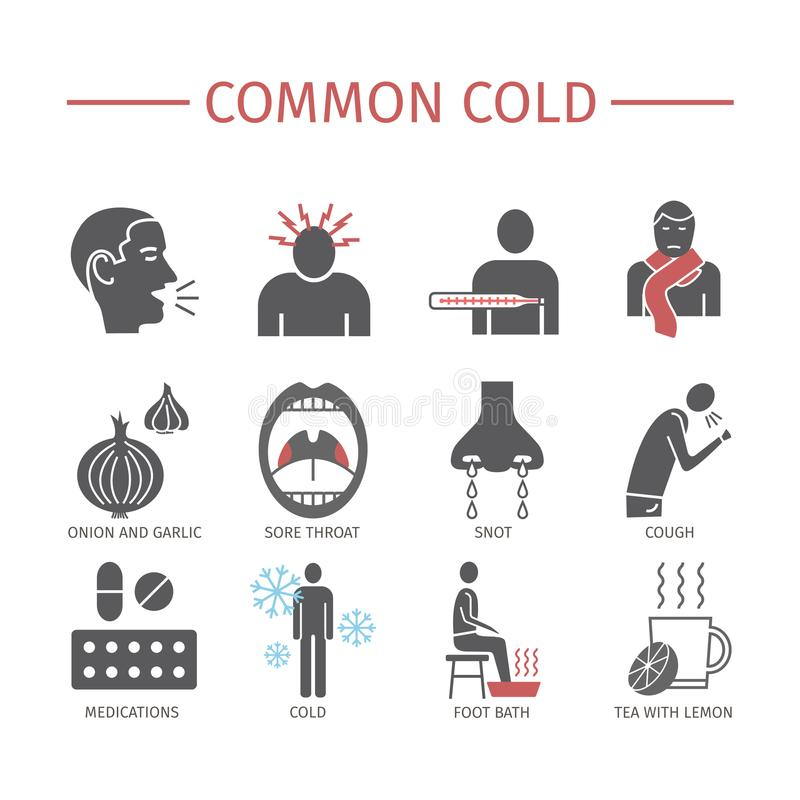 Rhume de cerveau Saison de la grippe Symptômes, traitement Graphismes réglés Signes de vecteur pour des graphiques de Web illustration stock