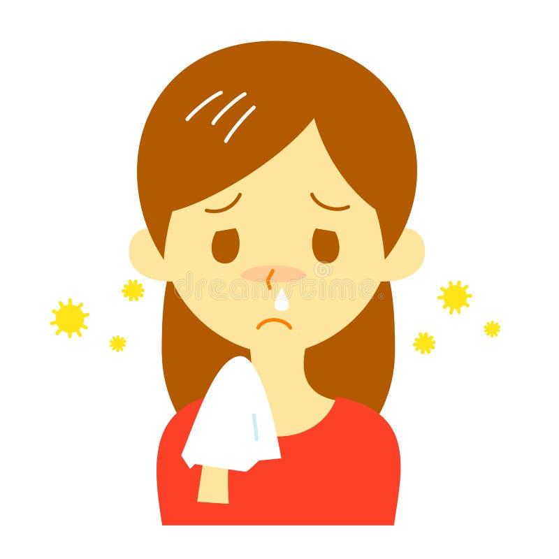 Rhume des foins, écoulement nasal, femme illustration de vecteur