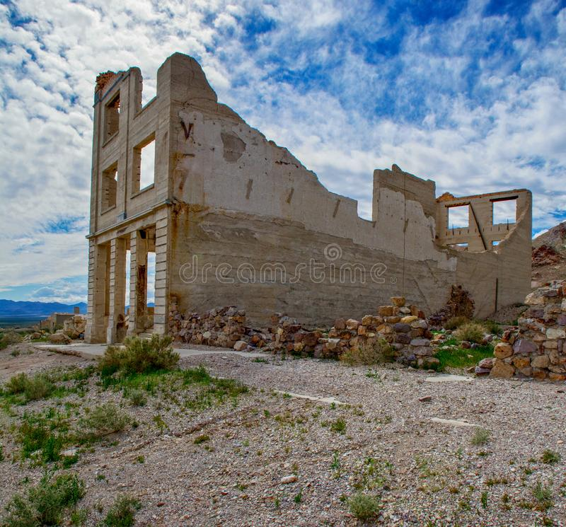 Rhyolite Bank Ruins. Bank ruins in the ghost town of Rhyolite, Nevada in the Mojave Desert royalty free stock photography