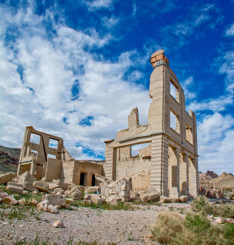 Rhyolite Ghost Town Bank Ruins. A ruined bank building in the ghost town of Rhyolite, Nevada in the Mojave Desert royalty free stock image