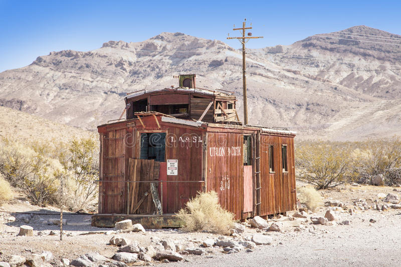 Rhyolite Caboose. An abandoned Caboose in Rhyolite ghost town, Nevada royalty free stock photos