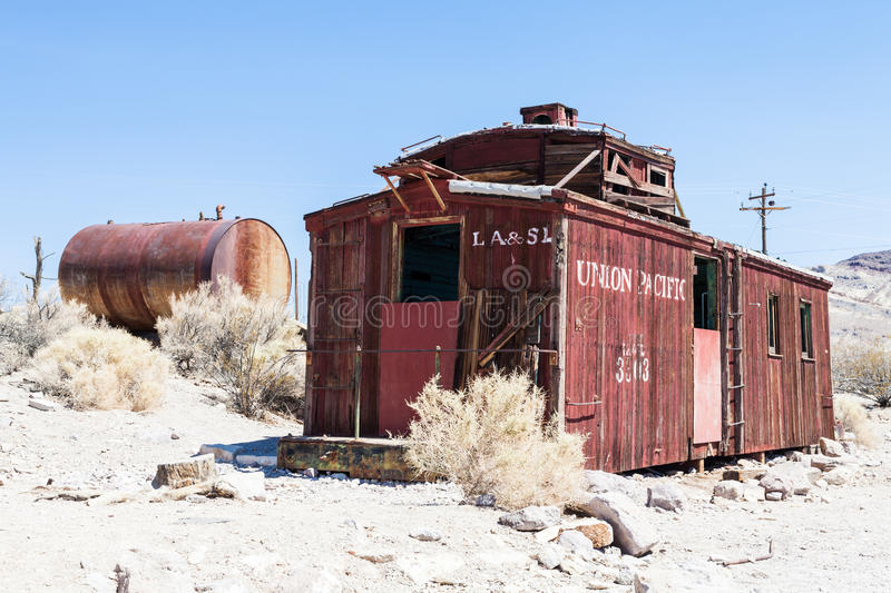 Rhyolite Ghost Town. Rhyolite is a ghost town in Nye County, in the U.S. state of Nevada royalty free stock photo