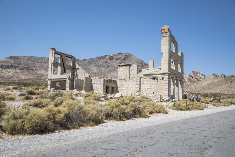 Rhyolite Ghost Town. An abandoned building at the ghost town of Rhyolite in Nevada stock photo