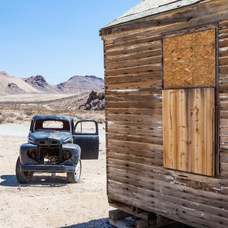 Rhyolite Ghost Town. Rhyolite is a ghost town in Nye County, in the U.S. state of Nevada royalty free stock image