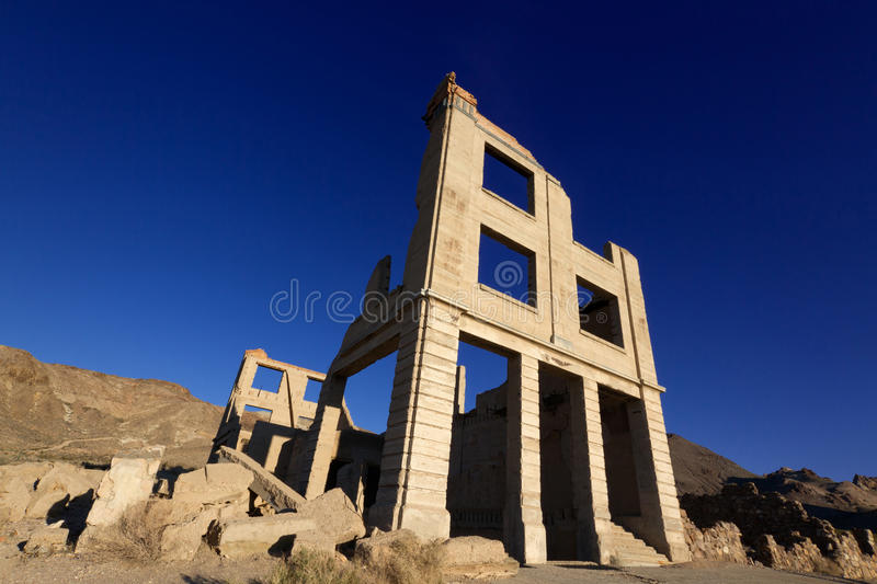 Rhyolite Ghost Town. Old Bank Building, Rhyolite Ghost Town near Death Valley, Nevada royalty free stock photos