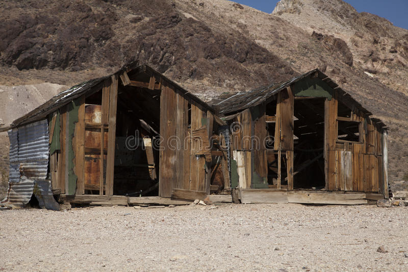 Rhyolite Ghost Town. Two abandoned sheds in the ghost town of Rhyolite, Nevada royalty free stock images