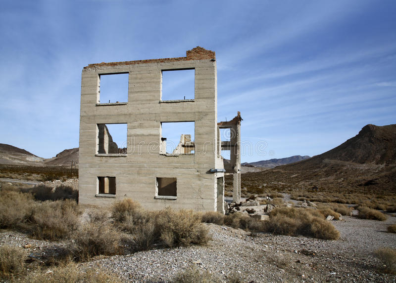 Rhyolite Nevada. Standing In Mute Testimonial To A Bygone Era, Rhyolite Nevada, An Abandoned Town Near Death Valley stock image