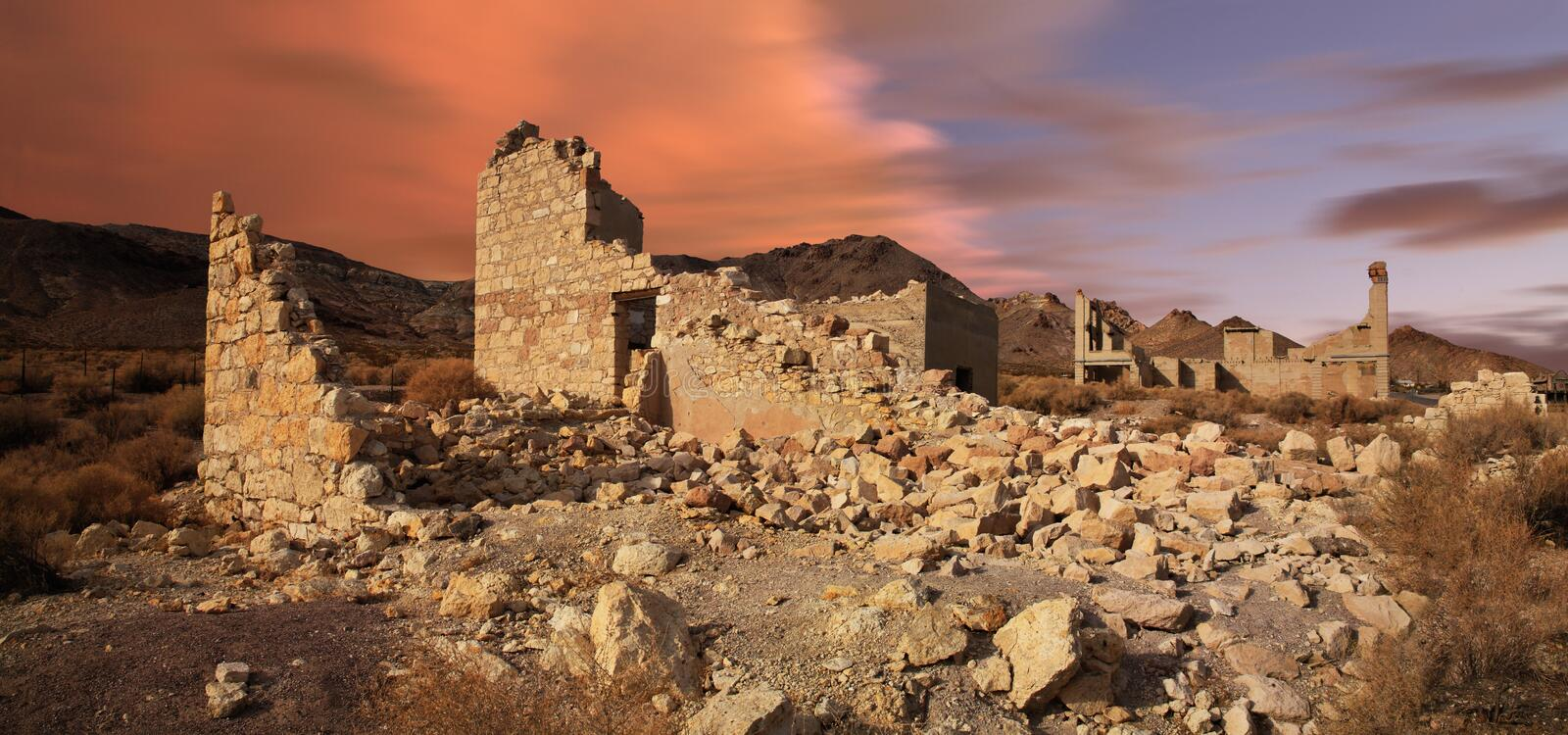 Rhyolite Nevada. A Classic Western Ghost Town Slowly Melting Back Into The Desert From Which It Sprang, Rhyolite Nevada, An Abandoned Town Near Death Valley royalty free stock images
