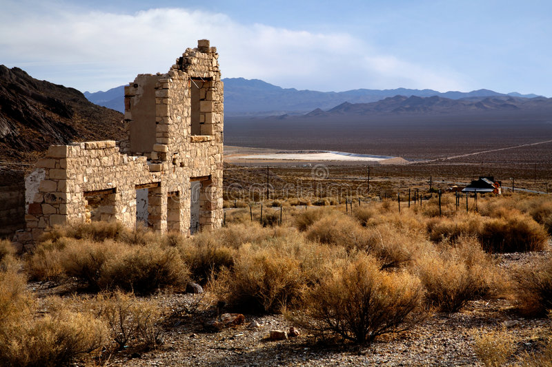 Rhyolite Nevada. Overlooking The Amargosa Valley In Rhyolite Nevada An Abandoned Town Near Death Valley stock photo