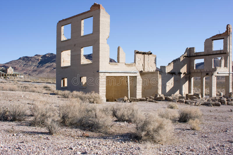 Rhyolite, Nevada ghost town. Remains of the once bustling town of Rhyolite, Nevada royalty free stock photography